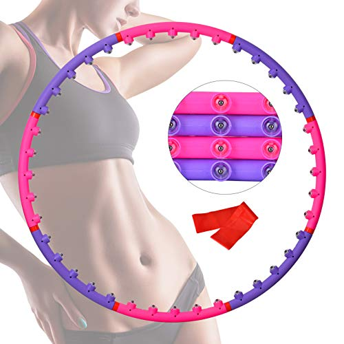 Wuudi Hula Hoop - Hula Hoop para pérdida de peso y masaje, con banda de resistencia, 8 nudos, diseño desmontable