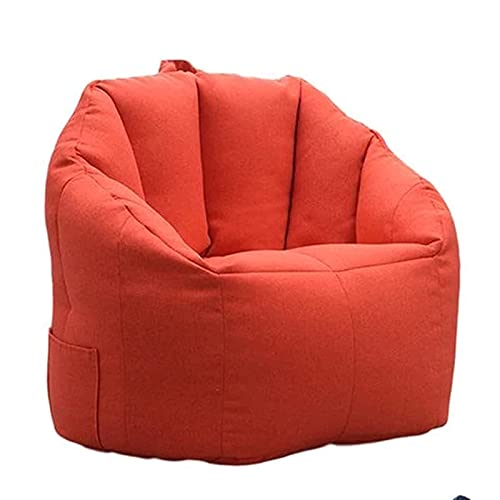Lazy Bean Bag Cover Sofa Chair No Filler, Lounger Sofa Sofa Cover, Shell Shape Bean Bag Storage Chair Cover for Adults And, Red, 76x68x60cm