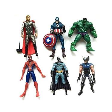 Superhero Action Figures - 6 PCS Action Figure Set - Batman, Superman, Hulk, Thor, Ironman, Captain America PVC Figure Toy Dolls – Hero Cake Toppers