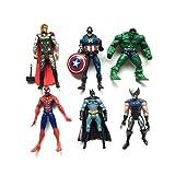 Lalosliv Superhero Action Figures - 6 PCS Action Figure Set - Batman, Superman, Hulk, Thor, Ironman, Captain America PVC Figure Toy Dolls – Hero Cake Toppers