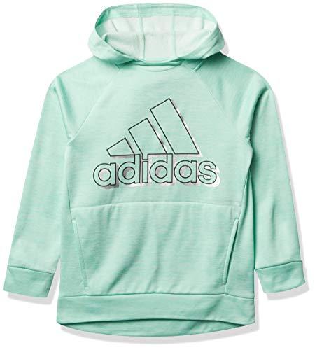 adidas Girls' Fleece Pullover Hooded Raglan Sweatshirt, Event Clear Mint Heather, Medium