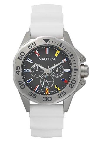 Nautica Herren Datum klassisch Quarz Uhr mit Silikon Armband NAPMIA002