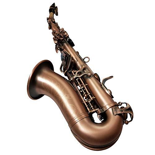 GAOXUQIANG Nuevo Instrumento de saxofón Soprano Curvo BB Music Soprano Saxofón de Cobre Rojo Professional