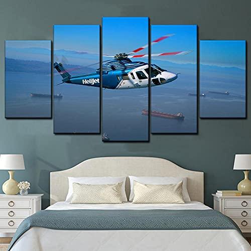KOPASD Art Enlienzo Póster Helicóptero helijet 5 Piezas Pared Mural para Decoracion Cuadros Modernos Salon Dormitorio Comedor Cuadro Impresión Piezasmaterial