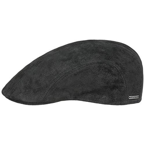 Stetson Madison Leder Flatcap Herren - Ledercap im Vintage-Stil - Schirmmütze mit Innenfutter aus Baumwolle - Mütze Sommer/Winter - Schiebermütze schwarz XL (60-61 cm)