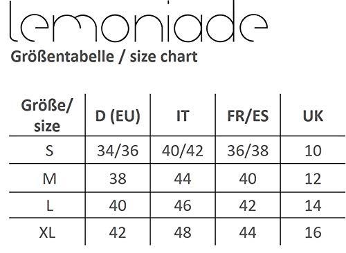 Lemoniade Elegante Vestito Corto Donna a Manica Lunga o Corta per aperitivo/Ufficio/Festa, MOD. 4 Blu Fiori, M