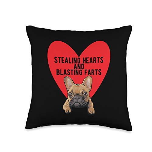 French Bulldog Blasting Farts Valentine's Gifts Stealing Hearts Blasting Farts Valentine's Day Frenchie Dog Throw Pillow, 16x16, Multicolor