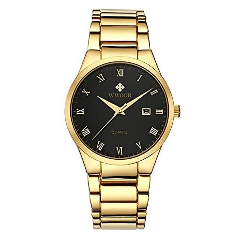 CXJC Reloj de Banda de Acero de Acero Inoxidable, Reloj mecánico Literal Romano, Reloj mecánico de Moda para Hombres, 3ATM Impermeable (Color : Si)