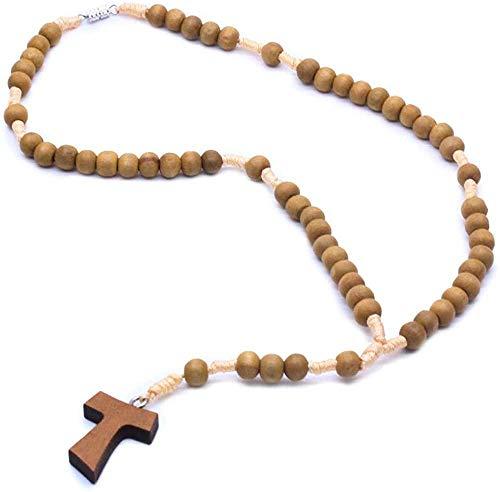 Ahuyongqing Co.,ltd Collar Rosario católico Manos Hacer un Collar de Cruces de Madera Orar por Suministros de la Iglesia Cristiana Collar de Cuerda Tejida