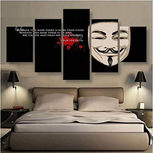 MyWheelieBin Modular Home Canvas - Cuadros de pared con 5 paneles en V para Vendetta HD, pintura abstracta