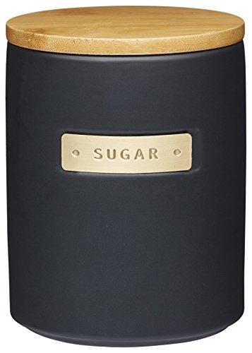 Kitchen Craft MasterClass Zuckerdose aus Steingut mit Messingeffekt, mit luftdichtem Deckel aus Bambus, 1 L (1,75 pt) – schwarz, 25 x 25 cm