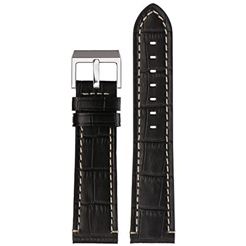 Correa de reloj de piel auténtica | Stailer Premium Aviator Collection | Piel con relieve de cocodrilo | Tamaño 24 mm 22 mm 20 mm, Negro , 22mm,