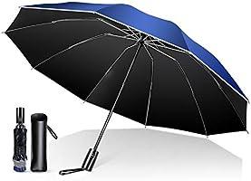 【強化版 10本骨 濡れない逆折り式】 折りたたみ傘 ワンタッチ自動開閉 超撥水 折り畳み傘 メンズ レディース 飛び出し防止機能 晴雨兼用 梅雨対策 台風対応 高強度グラスファイバー 収納ポーチ付き