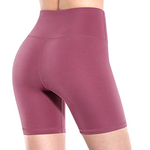 Promover Yoga-Shorts mit hoher Taille, für Damen, mit Taschen, nicht durchsichtig, für Workout, Laufen - Violett - Klein