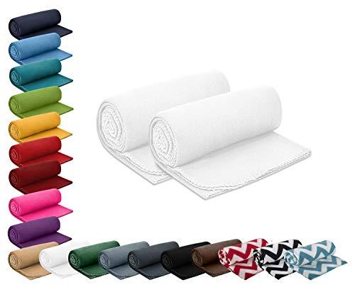 2er Set Polar- Fleecedecke 130x160 cm ca. 400g wertiges Gewicht mit Anti-Pilling Kettelrand Farbe weiß in vielen bunten Farben