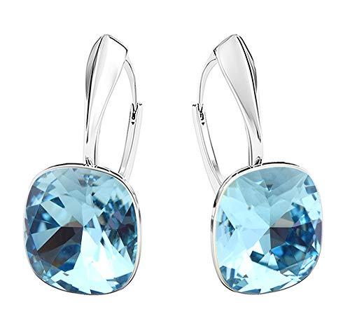 Crystals & Stones NEUHEIT - SQUARE - Tolle Ohrringe - FARBE VARIANTEN !! - Silber 925 Schön Damen Ohrringe mit Kristallen von Swarovski Elements - Wunderbare Ohrringe !! (Aquamarine)