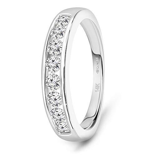 Miore media alianza oro blanco 14 kt 585 con diamantes talla brillante 0,50 ct