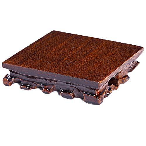 LOOPIG Jarrón de madera maciza con base de piedra de Buda para incienso