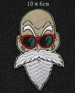 Master Roshi Face Dragon Ball Z DBZ GT Vegeta Goku Military Patch Fabric Embroidered Badges Patch Tactical Stickers for Clothes with Hook & Loop