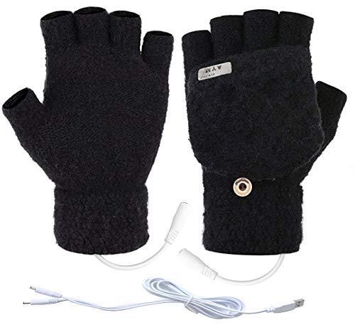 Unisex USB Heated Gloves Mitten Winter Warm Hands Knitting Heated Laptop Gloves,Half&Full Finger Mittens for Women Men Girls Boys- Best Winter Gift Choice (GS Type 2)