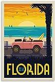 VVBGL Leinwandbild Vintage Reise Poster Florida von Auto