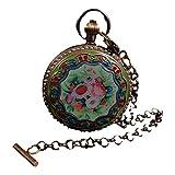 LAOJUNLU Reloj de bolsillo mecánico de cobre doble abierto con pintura Cloisonné y boca de cuentas estilo 3 antiguo bronce obra maestra colección de solitario chino tradicional joyería