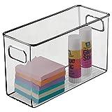 mDesign Caja de almacenaje con asas integradas – Caja organizadora para cocina, baño o material de oficina – Organizador de escritorio en plástico – gris