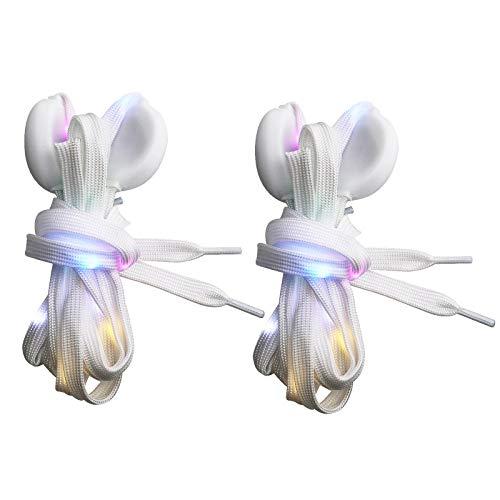 YINETTECH 2 Paar blinkende Schnürsenkel LED Nylon Licht Schnürsenkel Set Weiß 47 Zoll Länge Beleuchtung Party Hip-Hop Tanzdekoration Radfahren Wandern Rollschuhe Rollschuhe Rollerblade