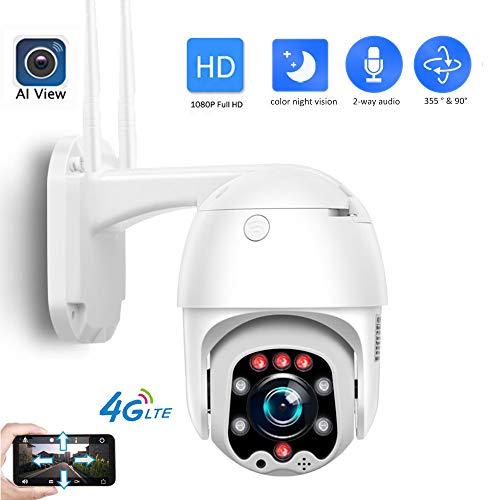 AINSS Camara IP 3G 4G sim Card 1080P,Cámara PTZ Vigilancia IP66...