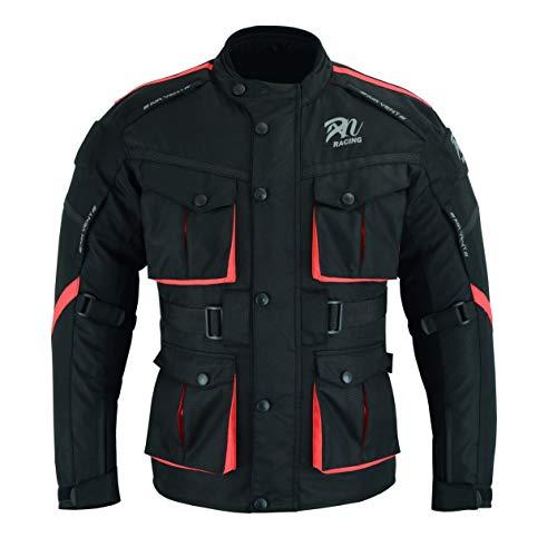 Chaqueta deportiva y de invierno para hombre – Motocross Racing CE blindado impermeable para todo tipo de clima negro y rojo