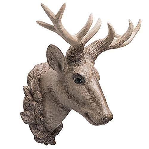 MAMINGBO Escultura de Cabeza de Ciervo - Cuerno de Ciervo Colgante de Pared Decoración de Pared Trofeo Estatua de Pared Cabeza de Animal Modelo de Pared Decoración del hogar Regalo Artesanal