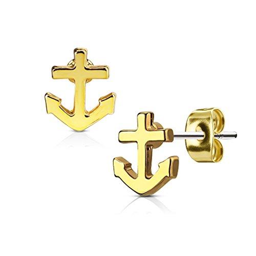 KULTPIERCING - Ohrringe Anker 1 Paar Ohrstecker 316 L Chirurgenstahl/Edelstahl Damen Schmuck Ohr-Schmuck Studs - Gold