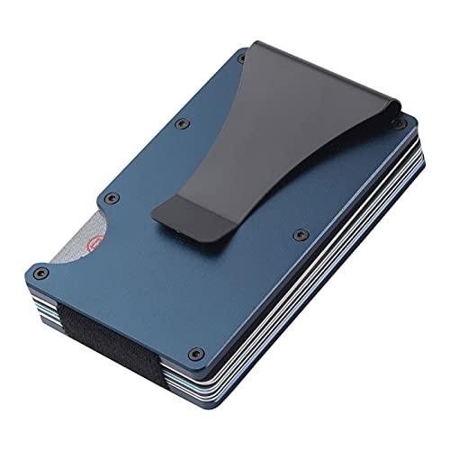 Ancocs Cartera Tarjetero Cartera Minimalista Hombre, Aluminum con Clip de Dinero metálico - NFC RFID Que bloquea el Monedero Delgado de Metal-Azul
