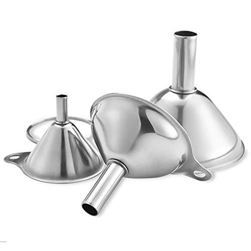 Ritte Embudo de Cocina Mini, 3 Piezas Acero Inoxidable Embudo y Colador Desmontable para Filtrar Líquidos para La Transferencia de Aceites Esenciales, Líquido y Polvo