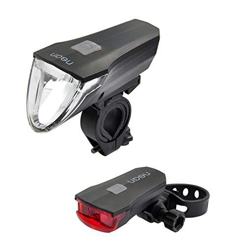 Nean Fietsverlichtingsset met automatische verlichting, remlicht, 60 lux, Cree-led, 3 helderheidsniveaus, werkt op batterijen, StVZO-goedgekeurd