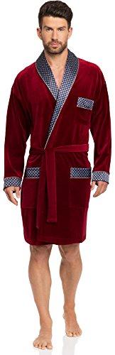 Timone Robe de Chambre en Velours Vêtement d'Intérieur Homme 772 (Bordeaux, L)