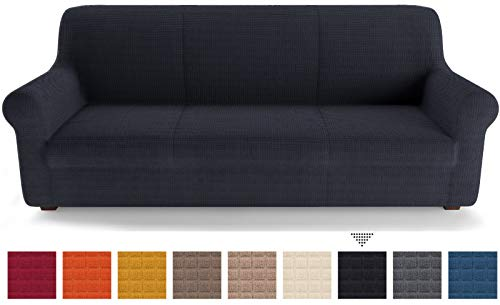 PETTI Artigiani Italiani Sofas, Funda de Sofa Elastica, 100% Made in Italy, Microfibra, Negro, 3 Plazas (180 a 230 cm)
