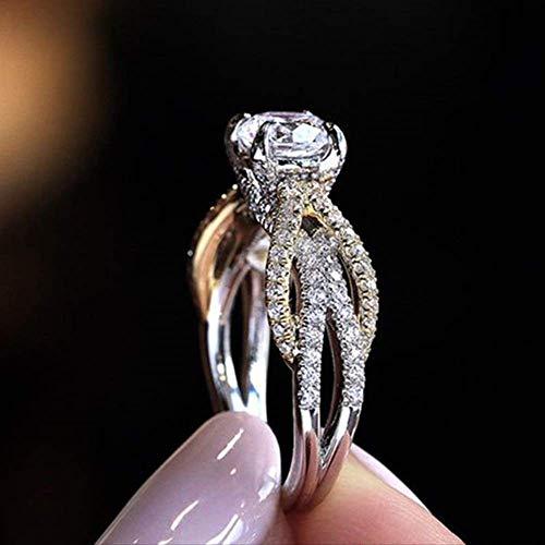 IWINO mooie mode tweekleurige prinses verlovingsring dames koper micro-set zirkoon sieraden van hoge kwaliteit
