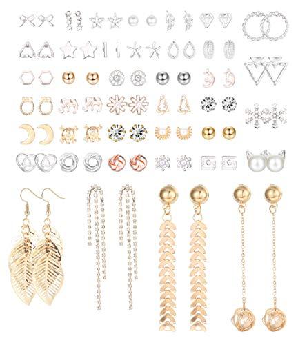 CASSIECA 40 Paia Orecchini Set per Donna Ragazza Orecchino Geometrico Perle Artificiali Pallina Stella Luna Triangolo CZ Orecchini Foglie Freccia