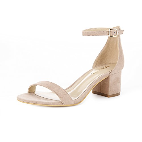 Eunicer Women's Single Band Classic Chunky Block Low Heel Sandals with Ankle Strap Dress Shoes,Nude Suede,9.5 B(M) US