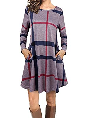 FANSIC Women Casual Long Sleeve Loose Checkered Plaid Swing Tunic T-Shirt Dress With Pocket