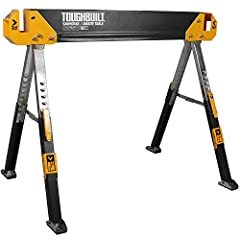HEAVY DUTY FOLDING SAWHORSE — Constructed from 100 percent high-grade steel, this sawhorse is rugged and capable for your most demanding jobs. Alone it has an incredible 1300 lb. capacity. When paired with a second table, it has a 2600 lb. capacity p...