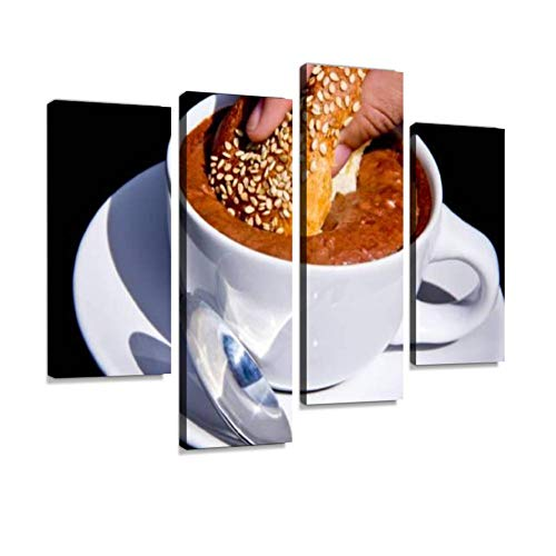 Soaking Sweet Bread in a Cup of Mexican hot Chocolate The Day of The Canvas Wall Art Hanging Paintings Modern Artwork Abstract Picture Prints Home Decoration Gift Unique Designed Framed 4 Panel