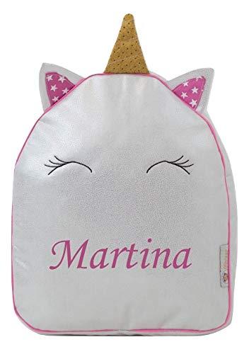 Borda y más Mochila infantil personalizada con el nombre bordado. (Pequeño Unicornio)