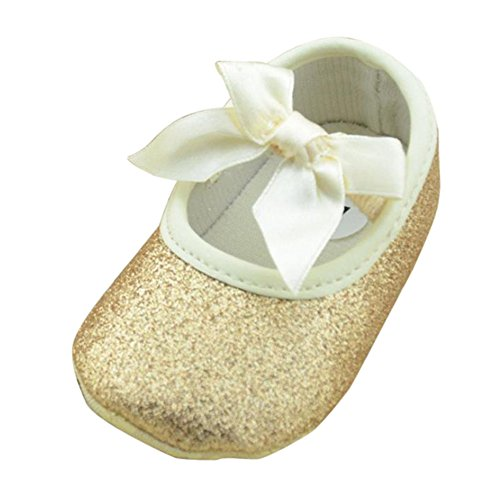 SHOBDW Girls Shoes, Newborn Infant Baby Girls Crib Soft Sole Anti-Slip Sneakers Cute Sweet Bowknot Shoes (6-12 Months, K-Gold)