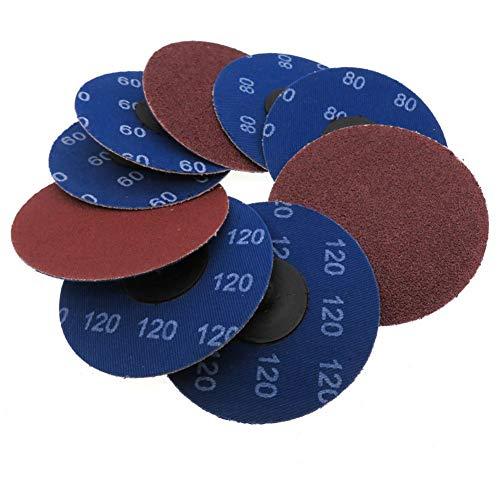 10 PCS Disco de lijado de 3 pulgadas Bloqueo de rodillo de disco de acondicionamiento de superficie de cambio rápido para preparación, pulido y acabado de superficies metálicas