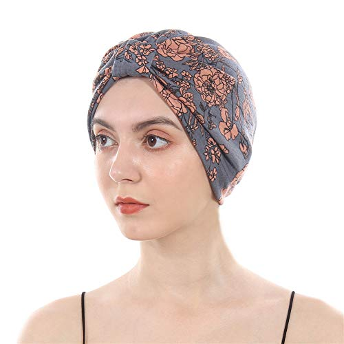 DuoZan Cotton Turbans Satin Liner Double-Layered Beanie Chemo Cap Sleep Bonnet Grey
