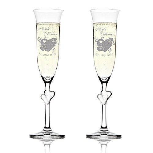 Stoelzle Lausitz Lot L Amour verres de champagne avec gravure motif – Grand Cœur avec petits cœurs et geschnoerkel
