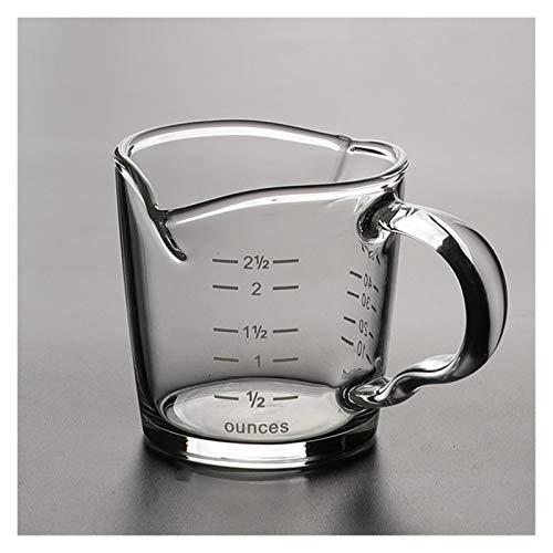 Taza De Agua De Copa de medición de Vidrio Resistente al Calor de 70 ml Jigger de Cocina para café Espresso Copa Doble de la Boca uncone (Color : with Scale)