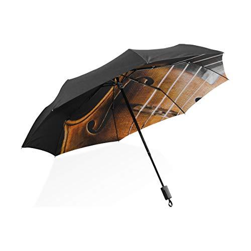 Kid Rain Umbrella Alte Geige, die auf dem Notenblatt liegt Tragbarer kompakter klappbarer Regenschirm Anti-UV-Schutz Winddicht Outdoor-Reisen Frauen XL Golfschirm Winddicht